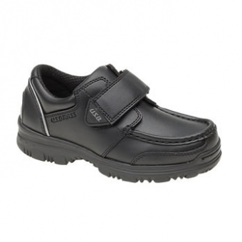 C657A Boys Velcro Black Shoes