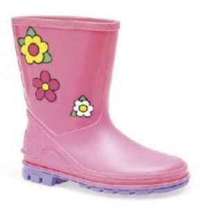 Girls Pink Flower Wellington Flower Boots