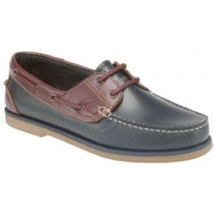 M551C Navy and Brown Boat Shoes