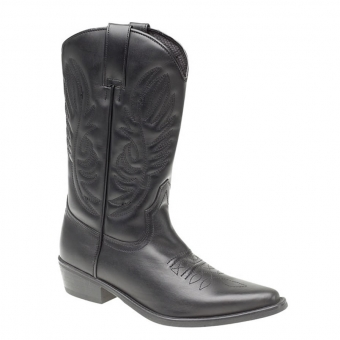 M699A Mens Black Leather Cowboy Boots