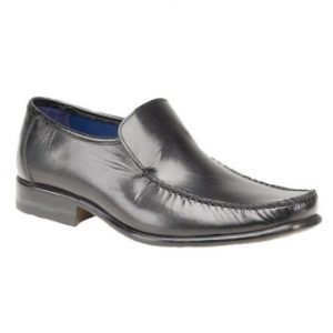 M743A Black Plain Leather Loafer