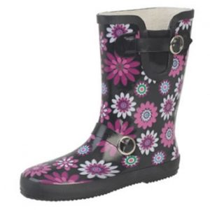 W220MA Ladies Purple and Black Wide Calf Wellington Boots