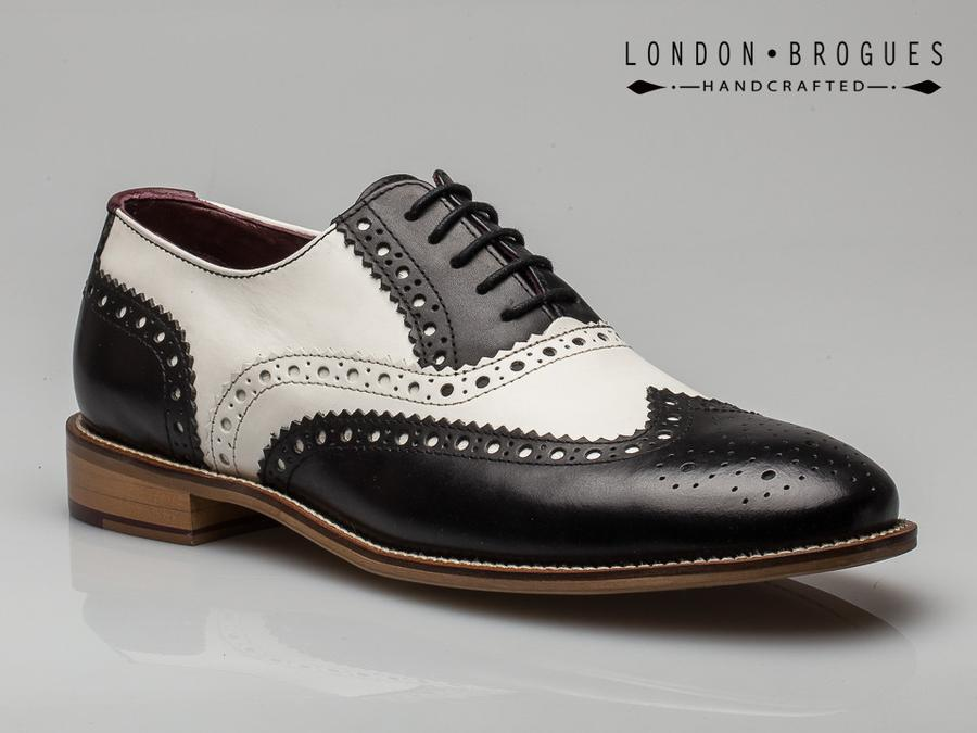 1edd8681b9d94 London Brogues Gatsby Leather Wingtip Formal Shoes Black/White