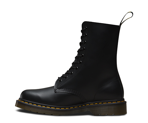 Dr Martens 1490 10 Eyelet Black Smooth Leather Boots