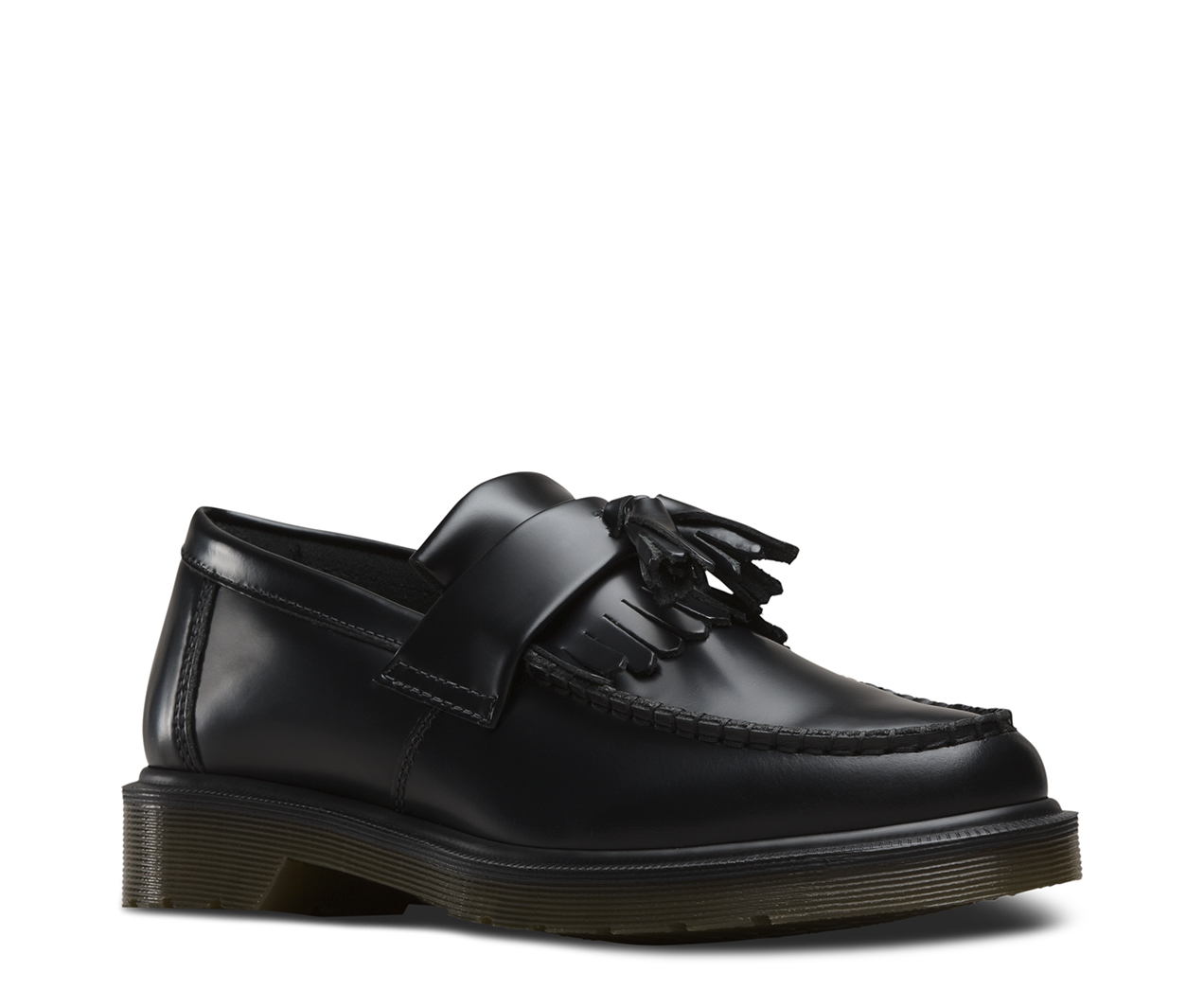 Dr Martens Adrian Black Smooth Leather Loafer Shoes -5371