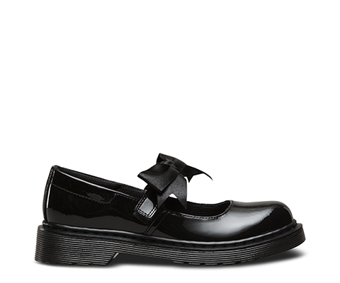 7c1e9059b2f0 Dr. Martens Kids Maccy II Girls School Shoes Black Patent Leather With Bow
