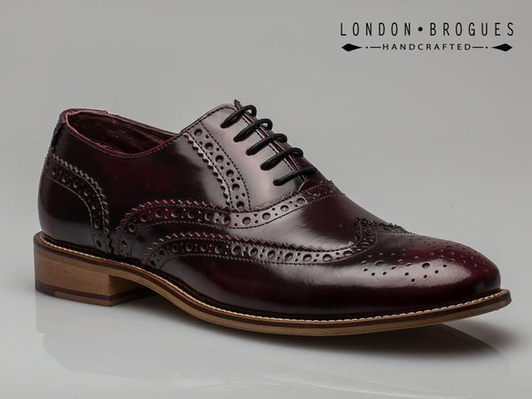 4e2fef4992ab5 London Brogues Gatsby Leather Wingtip Formal Shoes Bordo Polished