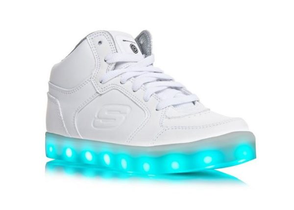 Skechers Kids Energy Lights Light Up High Top Lace Up White Trainers