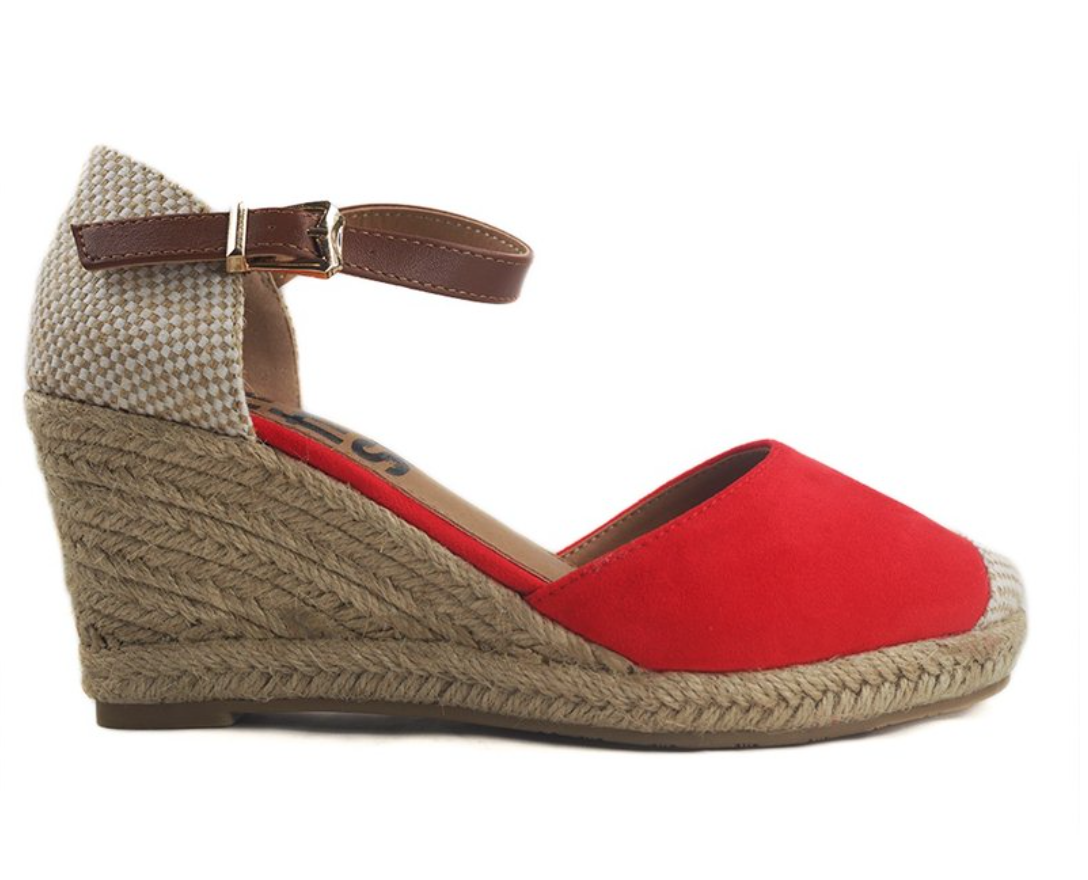 Refresh 69769 Espadrille Red Leather Wedge Sandal Shoe