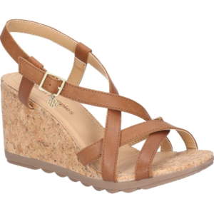 f1b807b88a4d Hush Puppies Tan Pekingese Strappy Buckle Leather Wedge Sandal