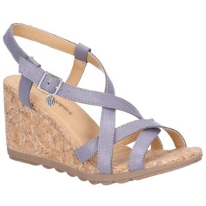 1f311344d8fd Hush Puppies Blue Pekingese Strappy Buckle Leather Wedge Sandal