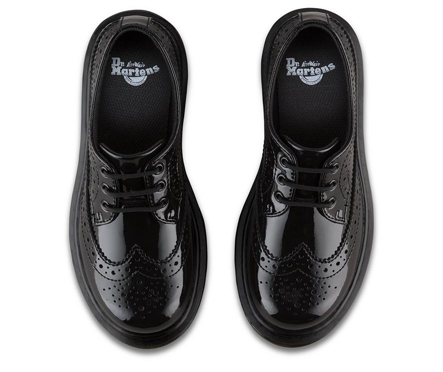 Dr Martens Kids 3989 Black Patent Brogue Lace Up Leather