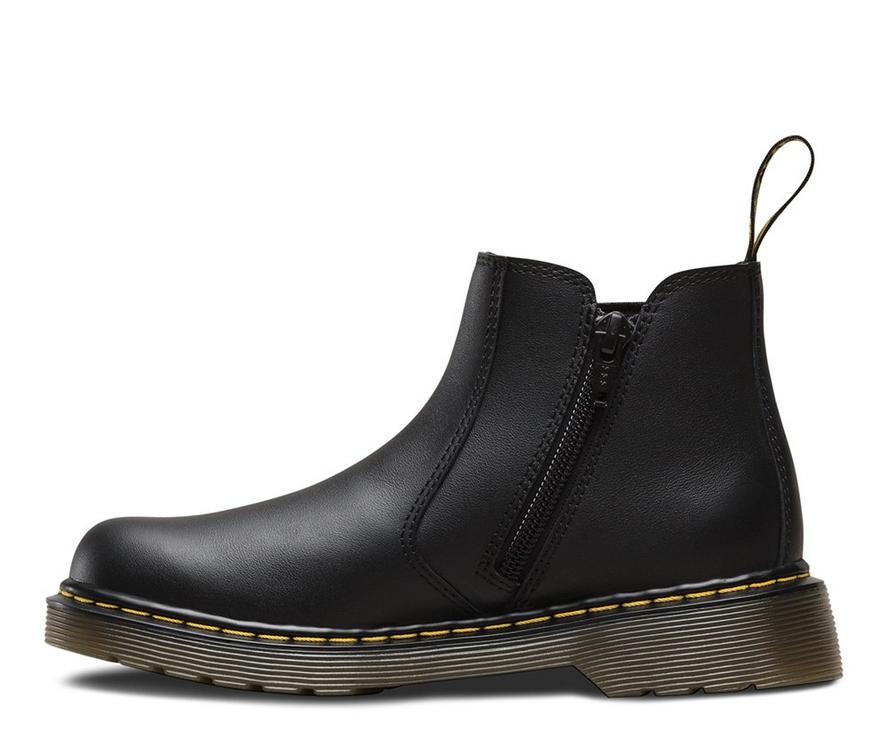 Dr Martens Kids Boys Girls 2976 youth Zip Up Black Leather Dealer Boot